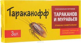 "Приманка для уничтожения тараканов и муравьев ""Тараканофф"", 3 шт"